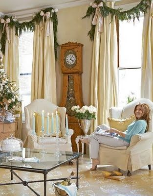 Garland Over Curtain Rods Blue Christmas Romantic Christmas Christmas Home