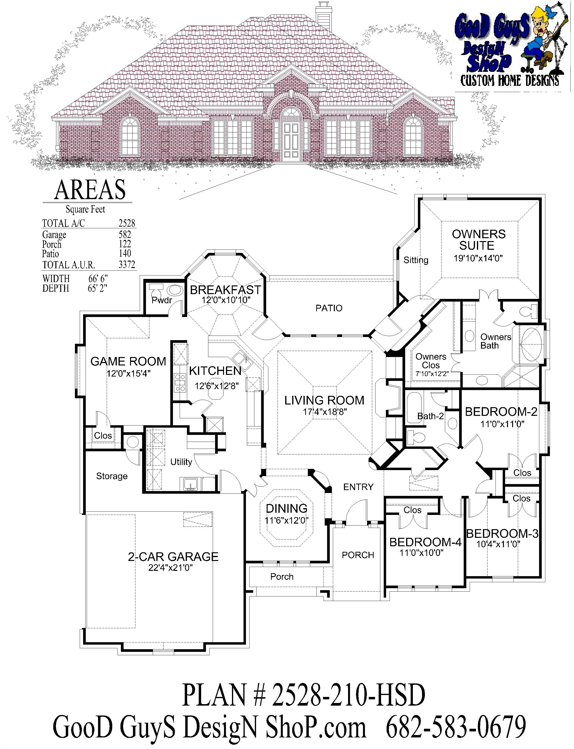 Stock house plans one story plan 2528 sqft 4 bedrooms 2 baths half bath formal dining game room 2 car garage front side entry traditional brick