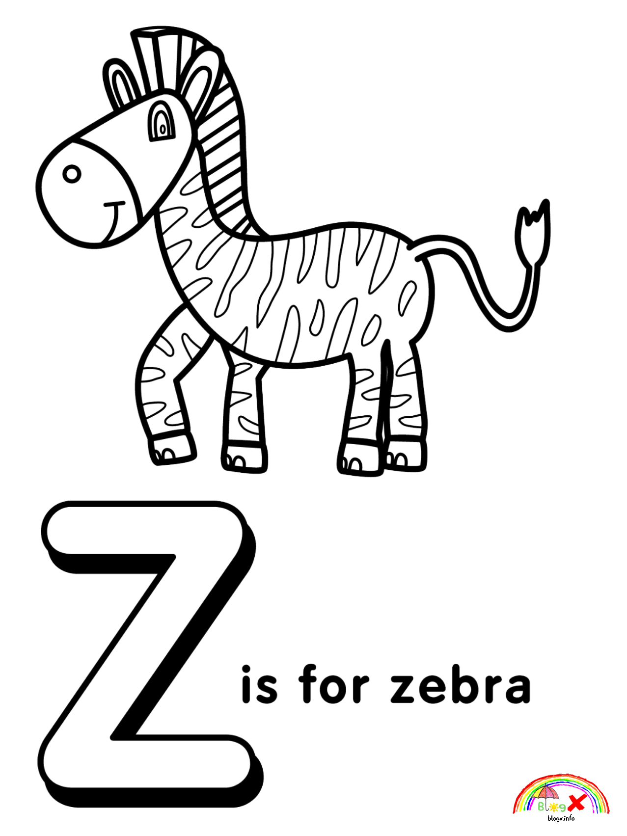 Printable Alphabet Letter Z Coloring Page Coloring Pages Allow Kids To Accompany Their Alphabet Coloring Alphabet Coloring Pages Printable Alphabet Letters