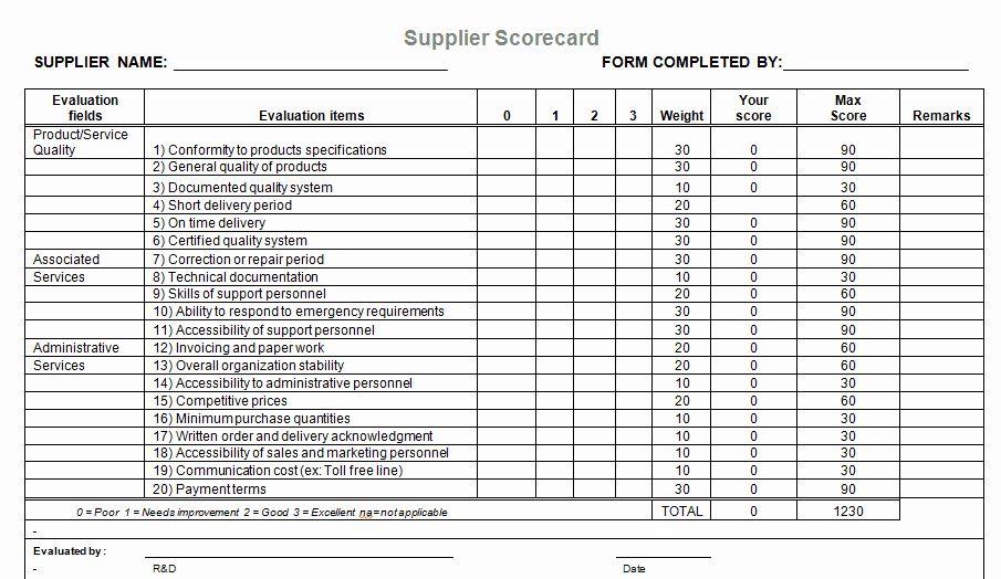 Vendor Scorecard Template Excel Luxury Supplier Evaluation