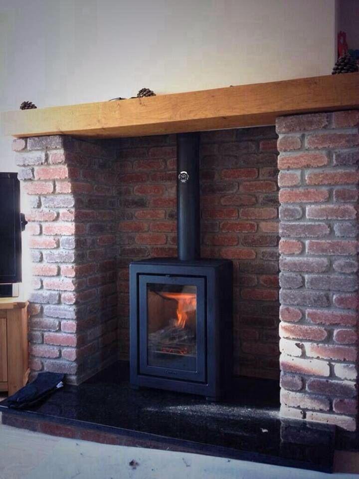 Wood Burning Stove With Brick Surround Brick And Wood Fireplace Design Wood Burning Stove