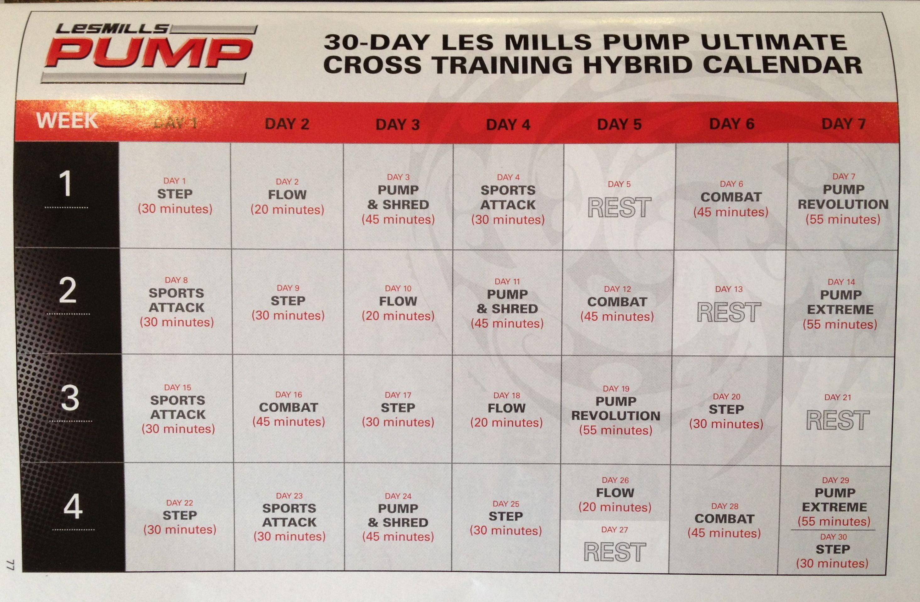 Les Mills PUMP Cross Training Hybrid Calendar