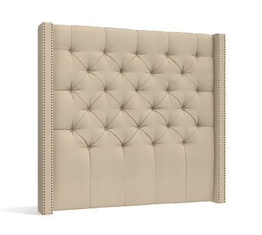 Harper Tufted Upholstered Queen Tall Headboard, Performance Canvas Driftwood