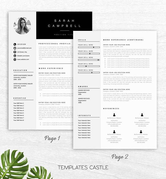 resume template creative professional modern word cover