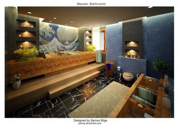 Wonderful Deluxe Bathroom Ideas By Daymon Studio And Semsa Bilge   Image 07  : Kanagawa Print Tiled Bathroom Design