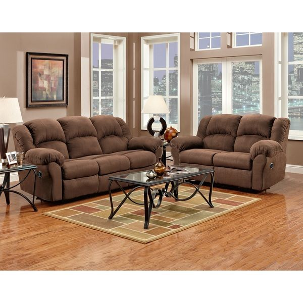 Captivating Aruba Chocolate Microfiber Dual Reclining Sofa And Loveseat Set