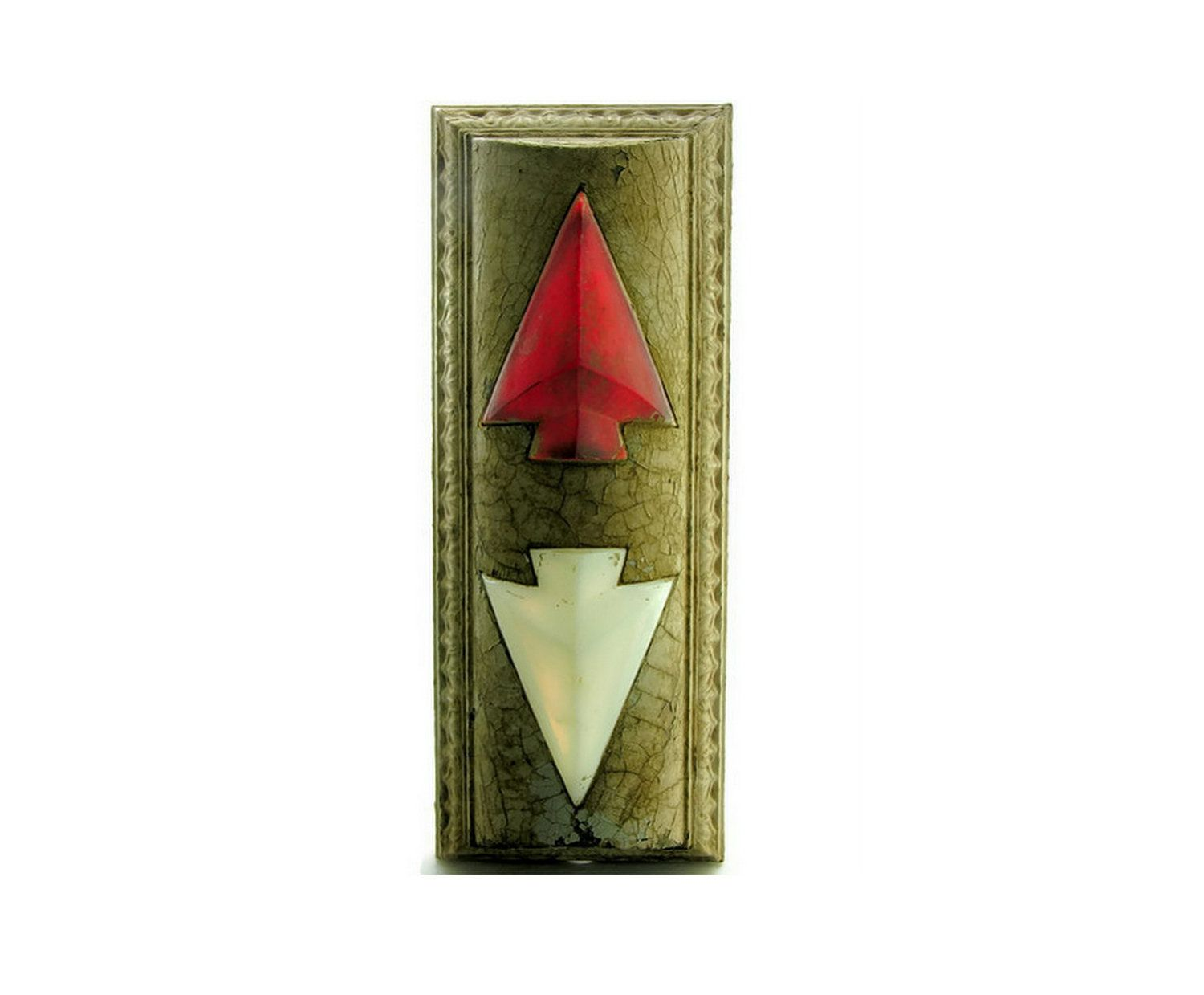 Going Up Antique Elevator Up Down Arrow Indicator Light Vintage Industrial  Bronze White Red Glass.