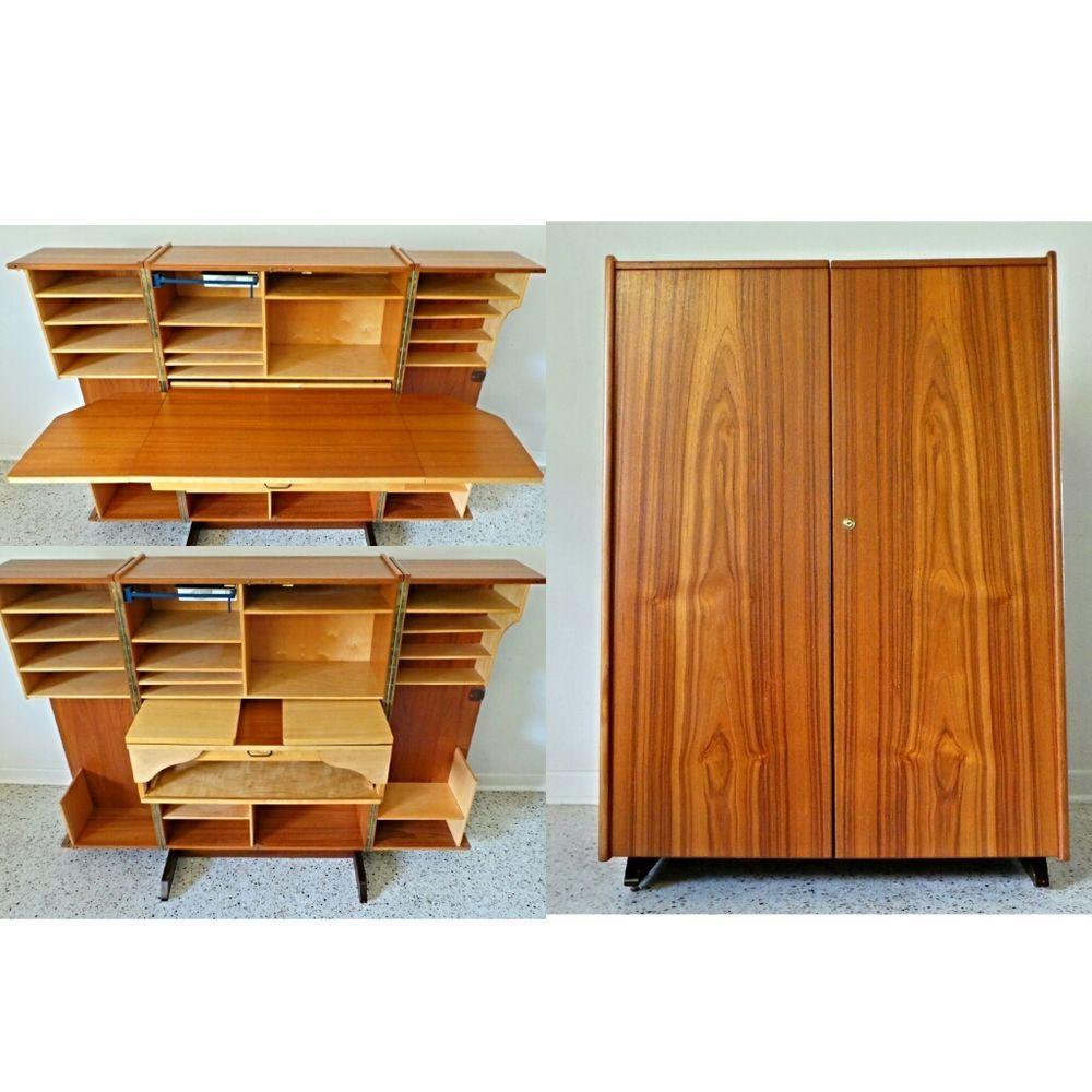 hide away furniture. Mid Century Danish Modern Teak Desk Cabinet Hide Away Compact #DanishModern Furniture