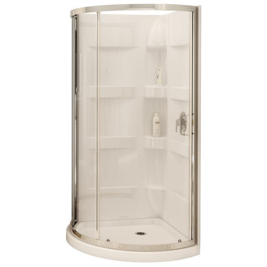 MAAX 80-in H x 34-in W x 34-in L White Round 3-Piece Corner Shower ...