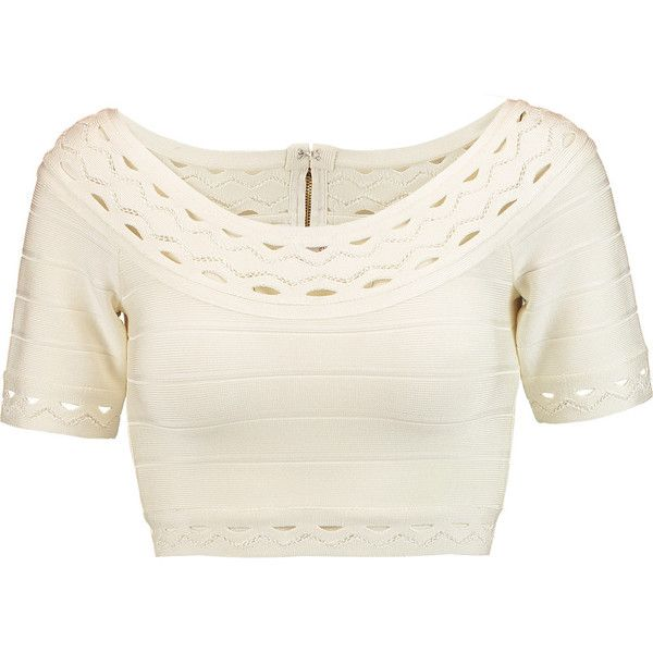 Hervé Léger Cropped cutout bandage top ($780) ❤ liked on Polyvore featuring  tops,