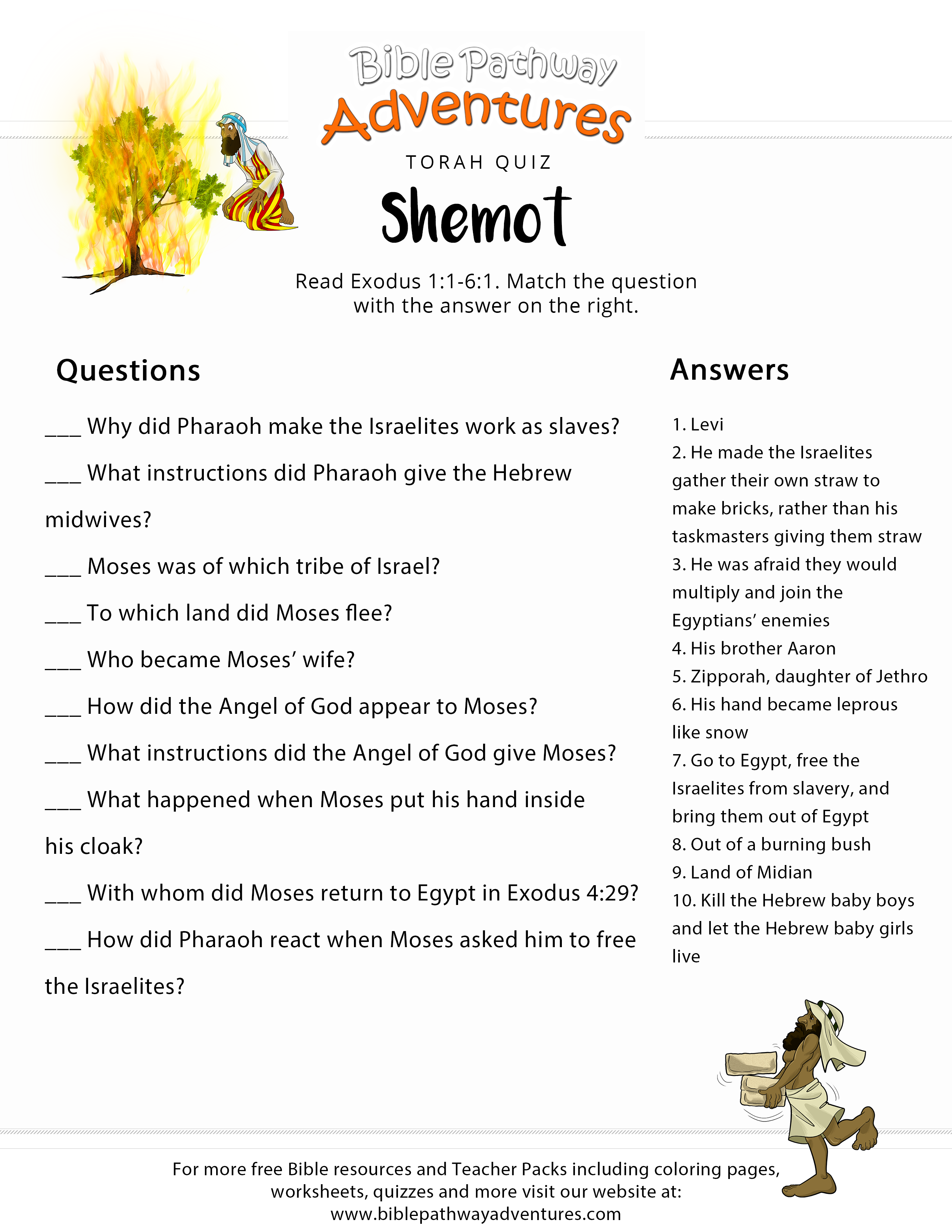 Torah Portion Quiz Shemot Exodus 1 1 6 1