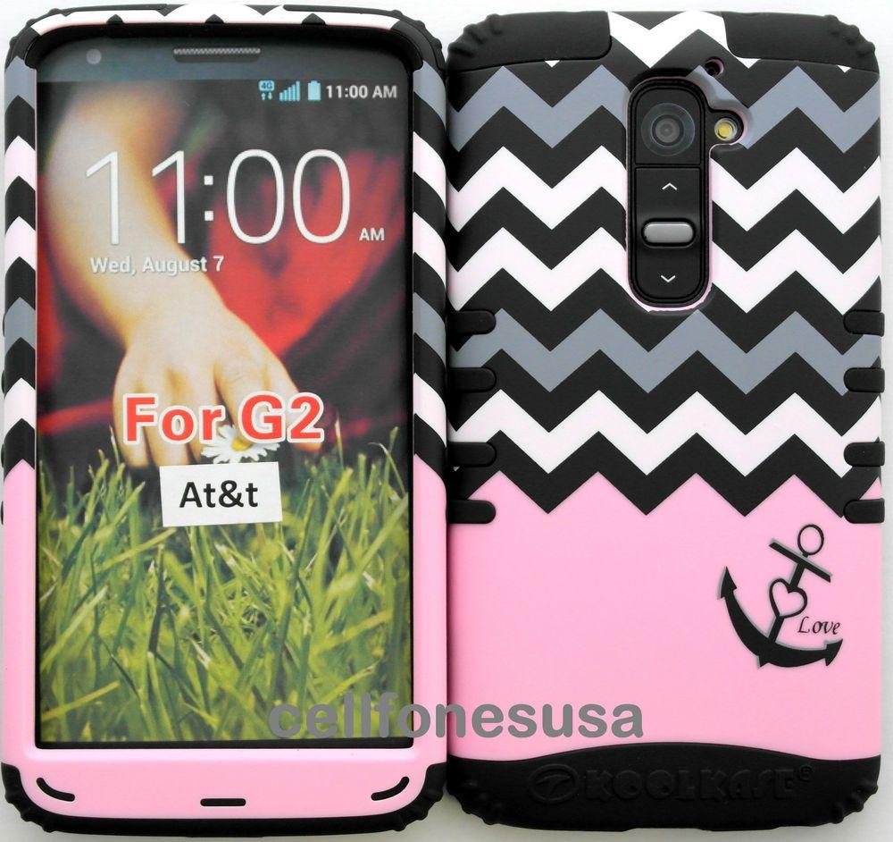 Hybrid Cover Case for AT&T LG Optimus G2 D800 Pink Block Chevron w Anchor/ Black