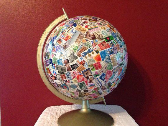 One of a Kind Vintage Postage Stamp Art Globe - Made to Order