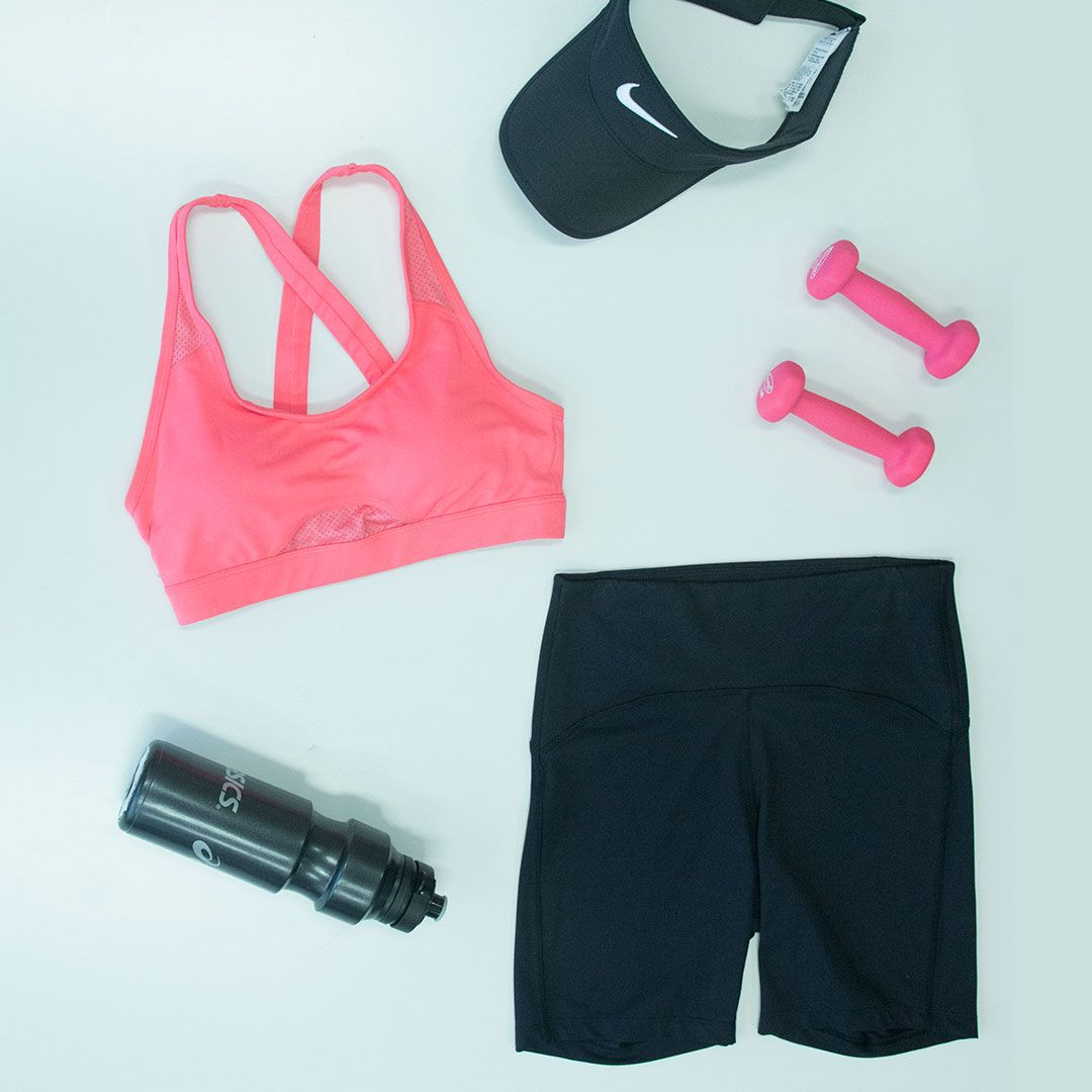 Friday flatlay, Get your weekend workout ready with our coral sports bra and compression short!