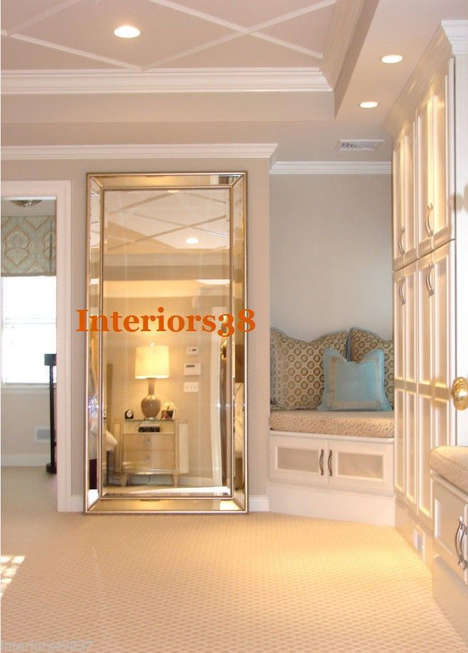 Large 84 Quot Horchow Floor Panel Leaner Foyer Beveled Mirror W Beaded Accent Traditional Bedroom