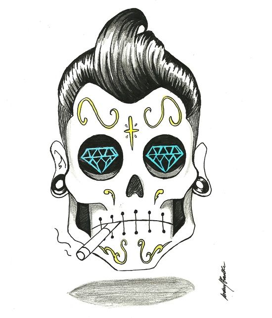 Rockabilly Skull With Diamond Eyes Pompadour And Cigarette Tattoo Flash Art