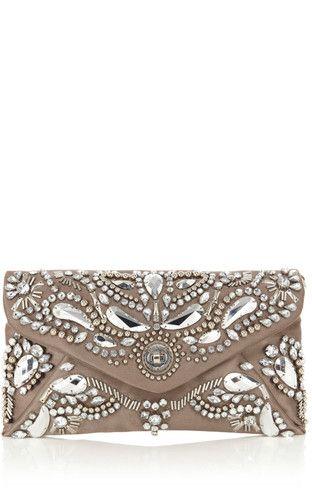 Karen Millen Baroque Jewel Clutch Silver Ebay Uk Co
