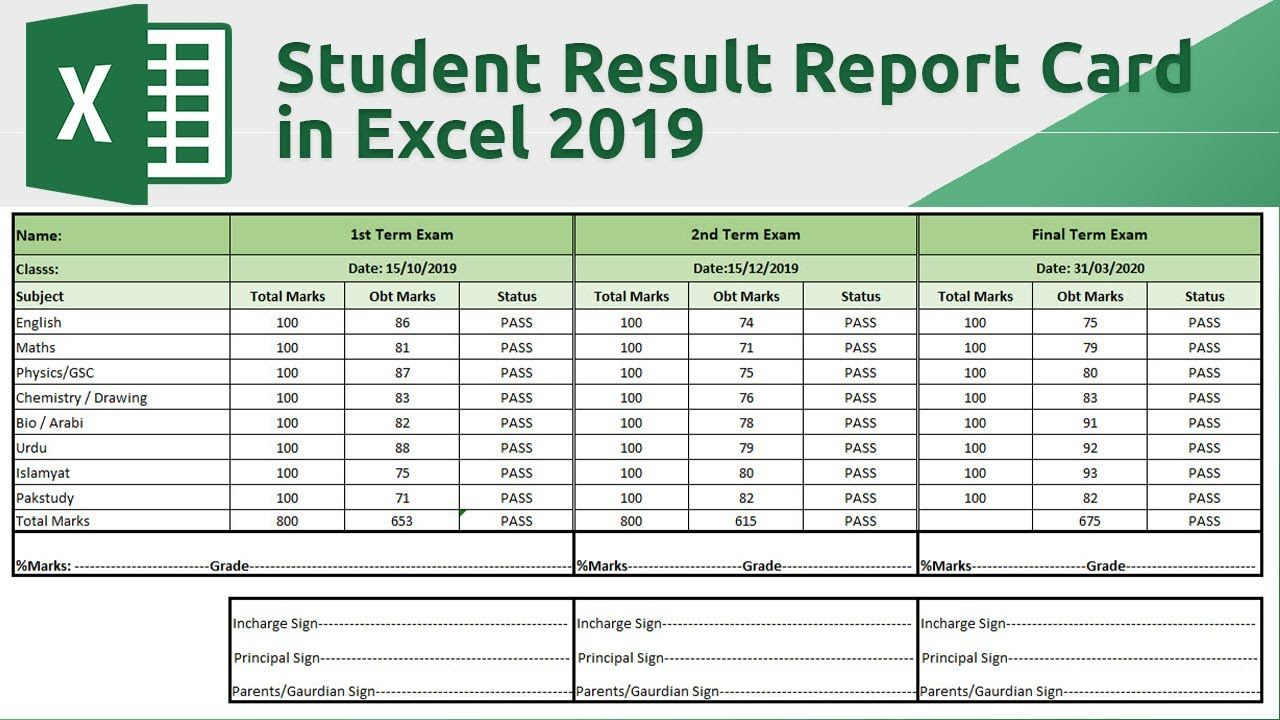 How to create student result report card in excel 2019