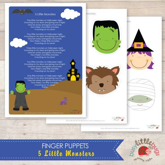 5 Little Monsters  Finger Puppets and Poem by BUSYLITTLEBUGSshop, $4.95
