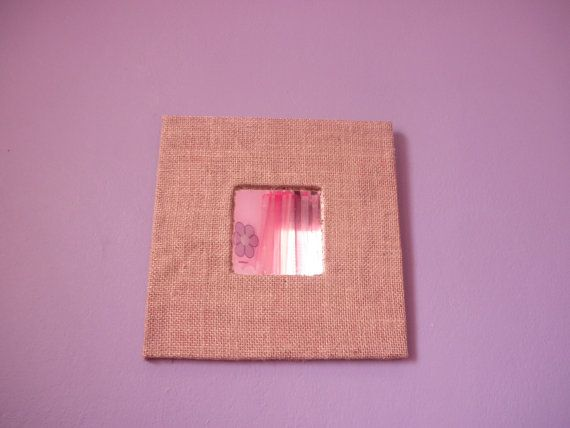 Square mirror with hessian fabric . Wooden Mirror decorated with ...