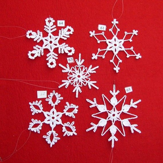 PDF Patterns for 5 Crocheted Snowflakes set 13 by TheNeedleWorks