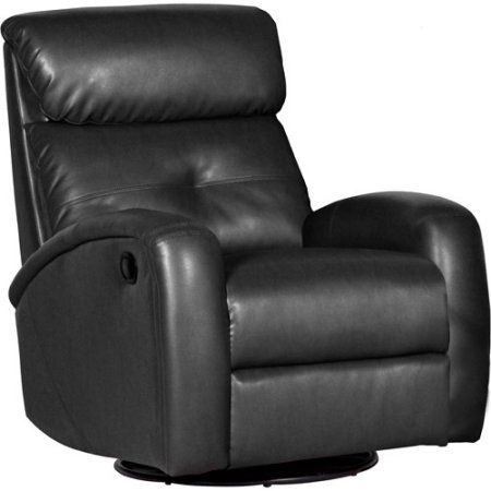 Shermag Bonded Leather Recliner With Push Button Recline And Swivel, Black
