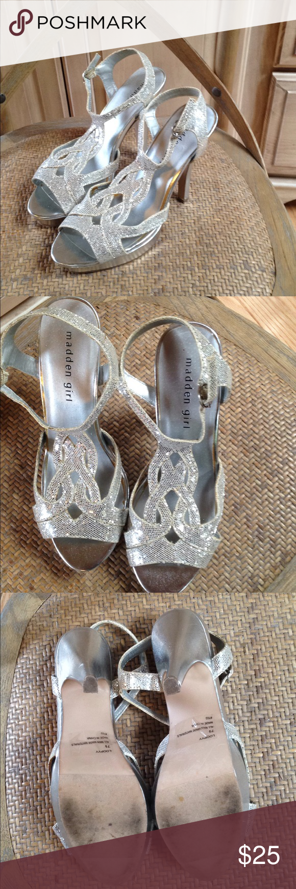 ff68b3b4e1e Madden Girl silver heels Loopy 7.5 Madden Girl size 7.5 medium heels. These  are glittery silver heels labeled