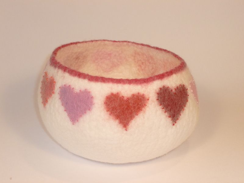 Felted Heart Bowl