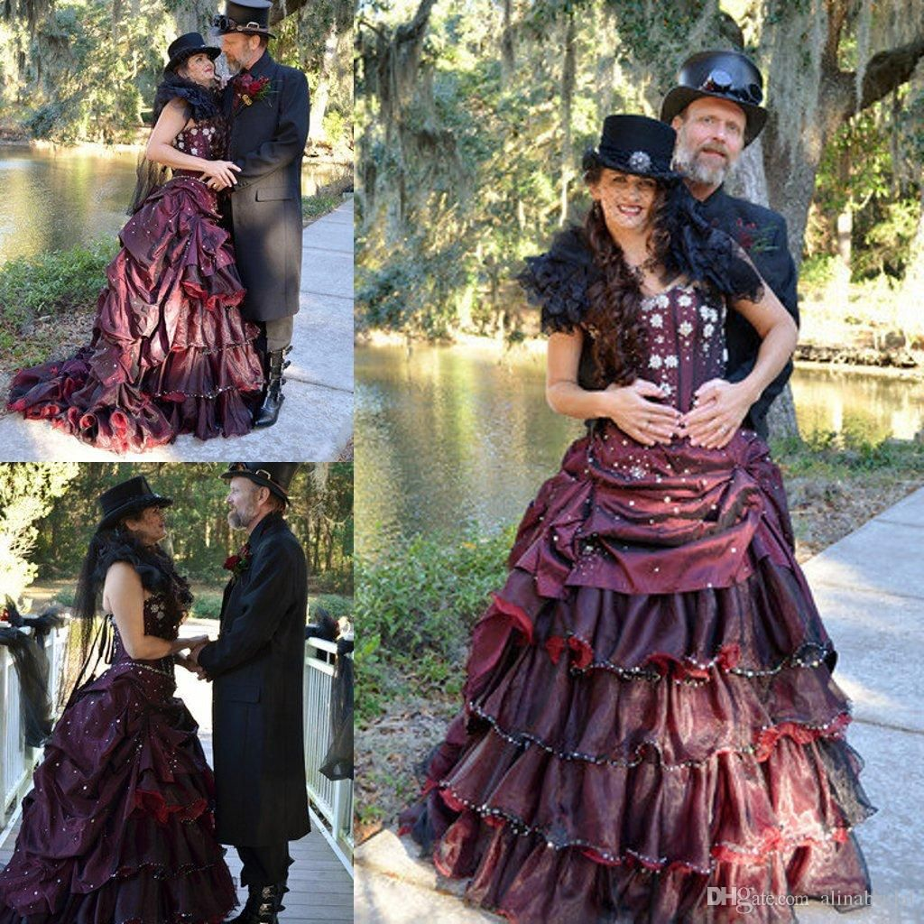 Vintage Purple Gothic Ball Gown Wedding Dresses With Cloak: Steampunk Burgundy And Black Gothic Wedding Dresses 2015
