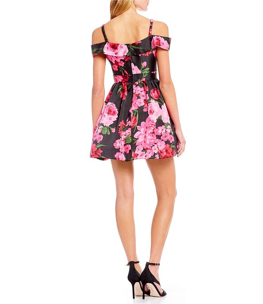 129c9caaf8ab B. Darlin Off-The-Shoulder Floral-Print Satin Fit-And-Flare Dress ...