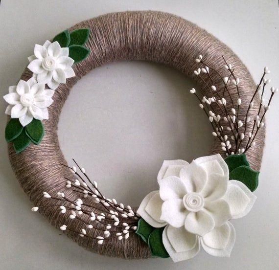 Photo of Ghirlanda invernale, ghirlanda di fiori di feltro, ghirlanda di filo avvolto, ghirlanda di bacche, ghirlanda di vacanze, ghirlanda per tutto l'anno, decorazioni per porte, matrimonio invernale