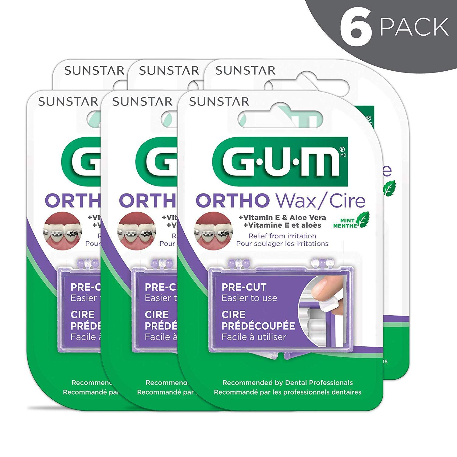 GUM Orthodontic WaxMint with Vitamin E and Aloe VeraPack