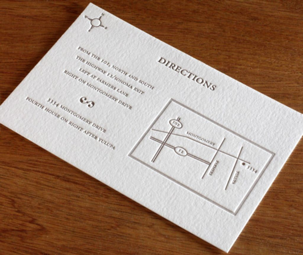 Wedding Invitations With Maps: Wedding Reception Direction Cards Template