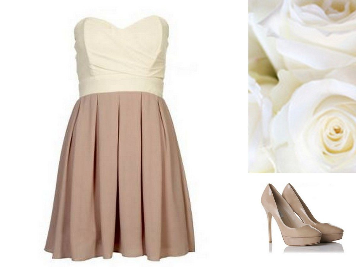 Style, Inspiration, & Design Beige Color blocked dress with neutral ...