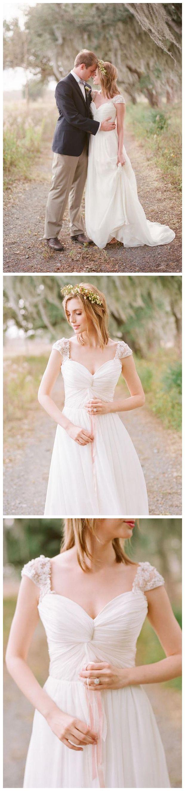 Long chiffon lace cap sleeve ivory beach wedding dresses plus size