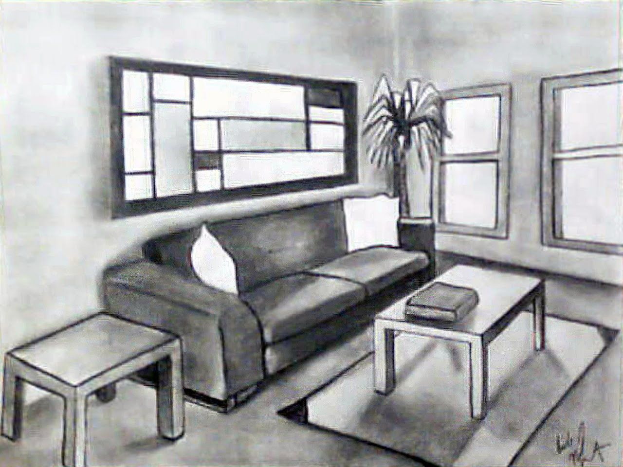 Drawing Ii Talbot Two Point Perspective Drawing Room Interior