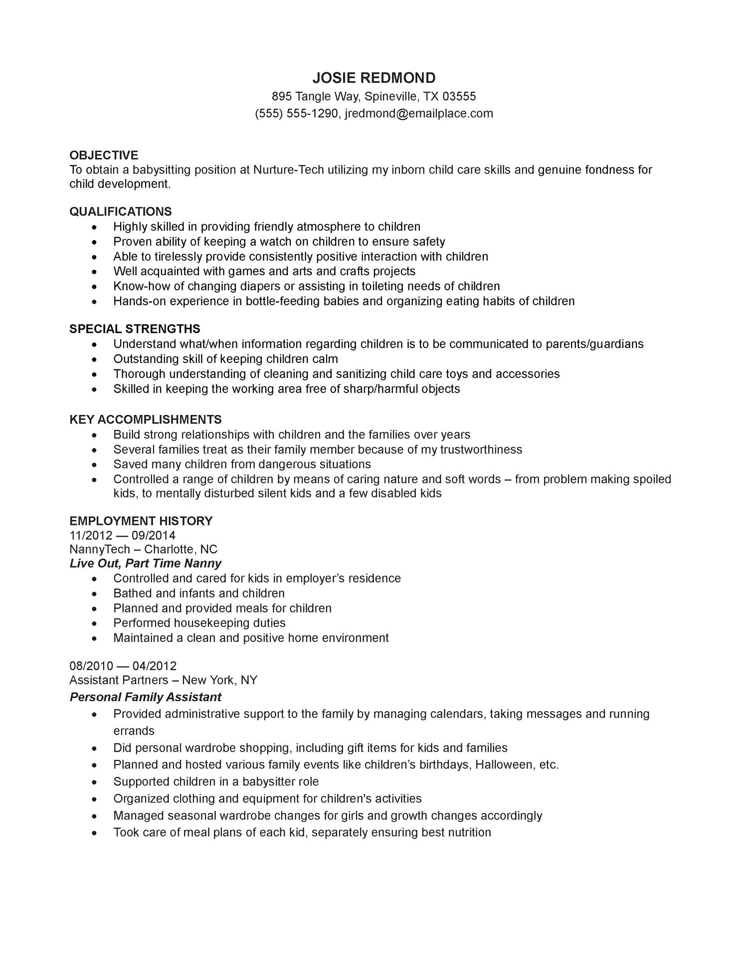 resume template college Professional in 2020 Nanny job