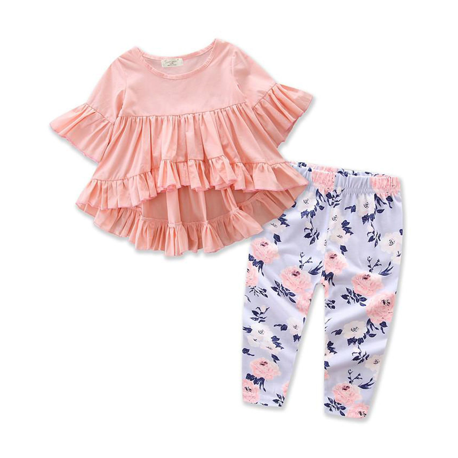 Toddler Girl Clothes Ruffles Irregular Mini Dress Tops+Long Pant Scarf 3PCS Clothing Set