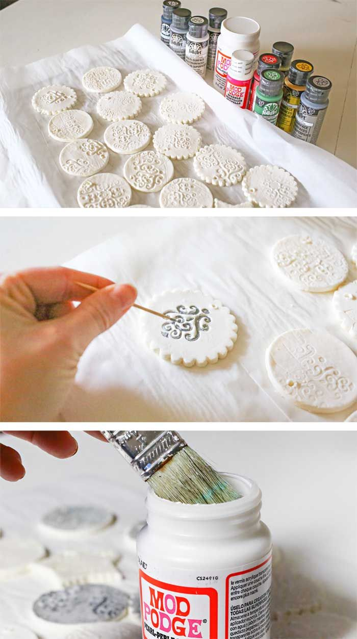 Stamped Clay Ornaments W Homemade Clay Recipe Homemade Clay Homemade Clay Recipe Diy Christmas Ornaments