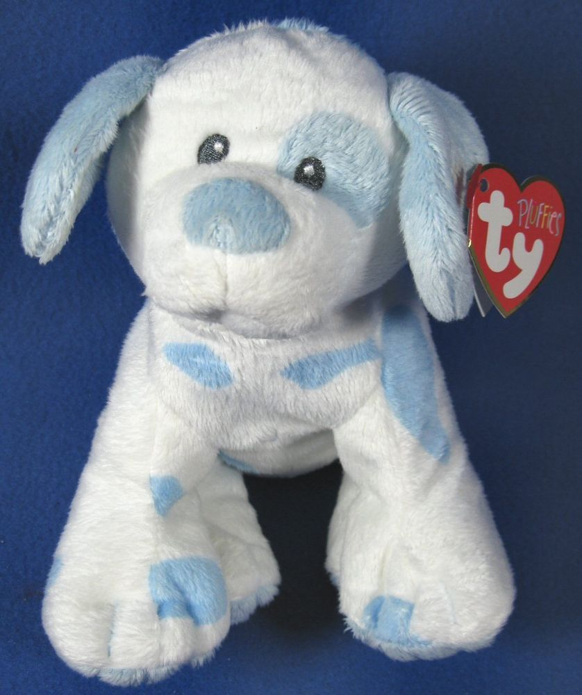 Ty Pluffies Baby Plush Puppy Dogs Blue White 2016 Nwt Pink