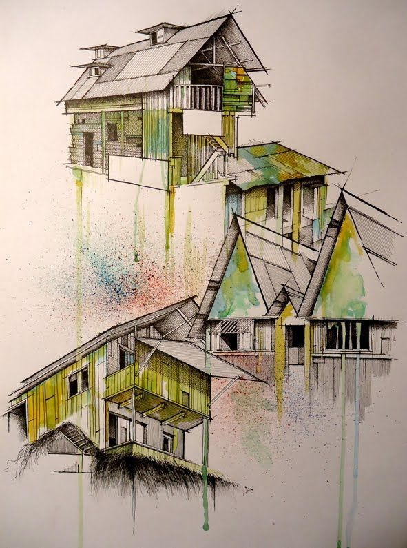Architectural Render Hand Drawn House With Watercolor
