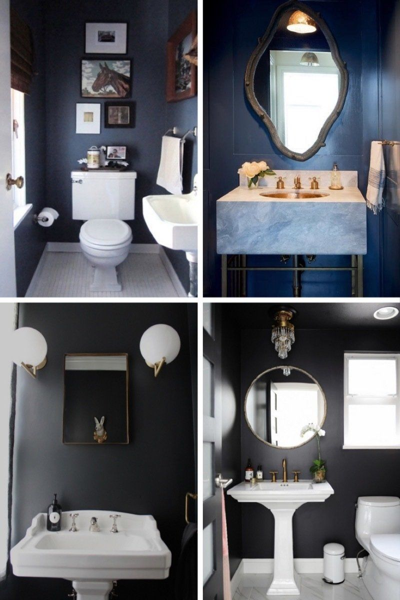 Go Big In Small Spaces Why Dark And Bold Is A Good Choice For A Tiny Bathroom Tiny Bathroom Makeover Bathroom Wall Colors Best Bathroom Colors
