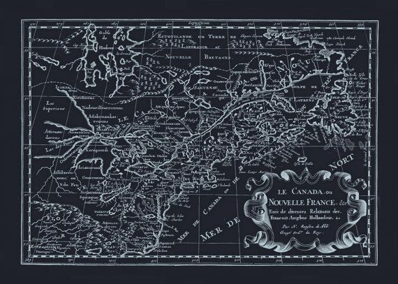 BLUEPRINT CANADA MAP Old Map of Canada by EncorePrintSociety - new old blueprint art