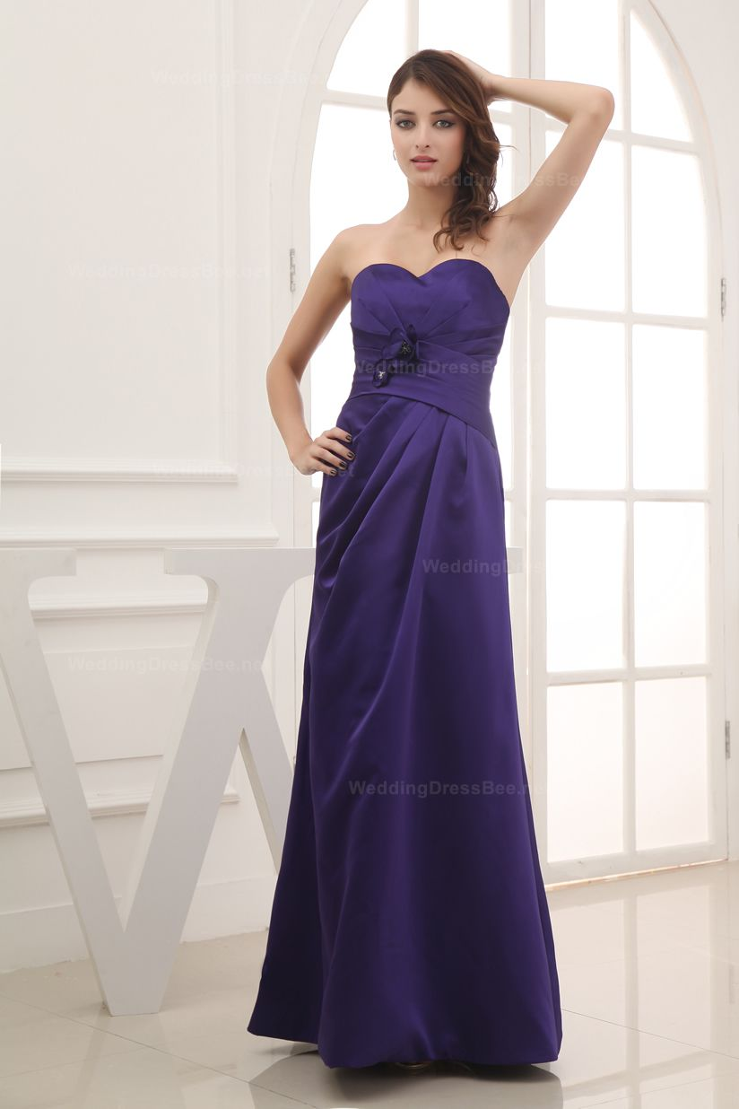 Strapless a-line floor length bridesmaid dress with hand made flower ...
