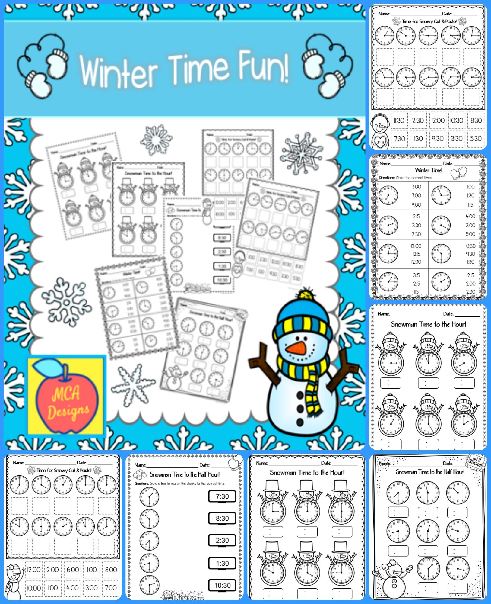 Telling Time Task Cards And Worksheetswinter Theme