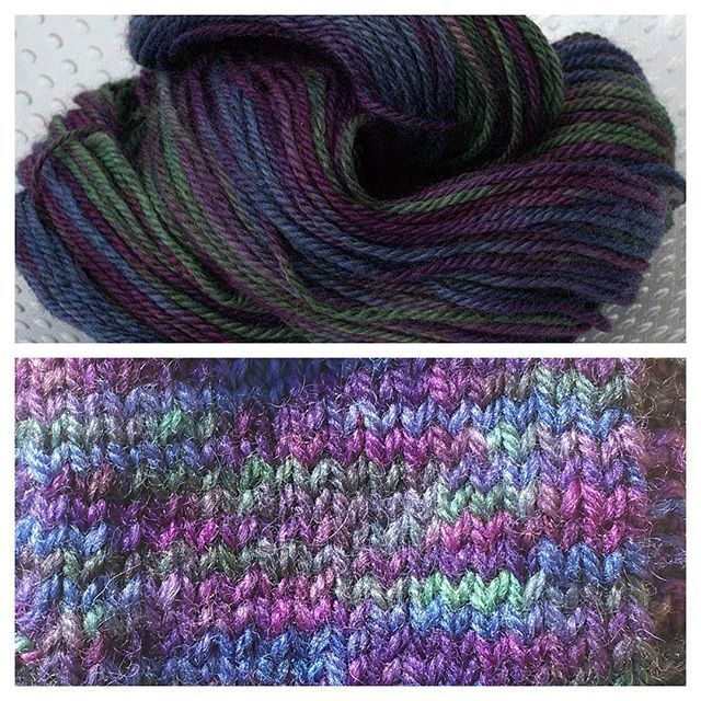 It's so difficult to capture the lovely lustre and shades of this yarn! It's Lucidity on our Archie Aran base. Available now skeined or caked.