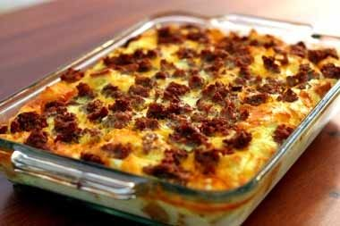 My breakfast casserole: 2lbs of sausage spicy and mild, 16oz of sour cream, 16oz french onion dip, chopped bell pepper, one cup of chopped onion, two bags of thawed shredded hash browns, four cups of cheese. Cook sausage until done, combine other ingredients in large bowl fold in hash browns last then layer mixture in a non stick pan add sausage and then another layer of mixture then sausage on, bake at 350 for about an hour add more cheese to the top if you like, enjoy