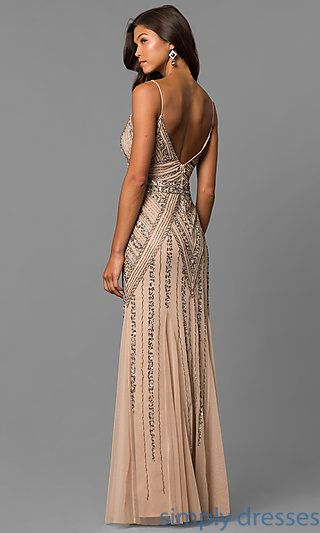 1554729ca56 Shop beaded long formal prom dresses at Simply Dresses. Art-deco designer  v-neck evening dresses with thin straps and sequins for under  200.
