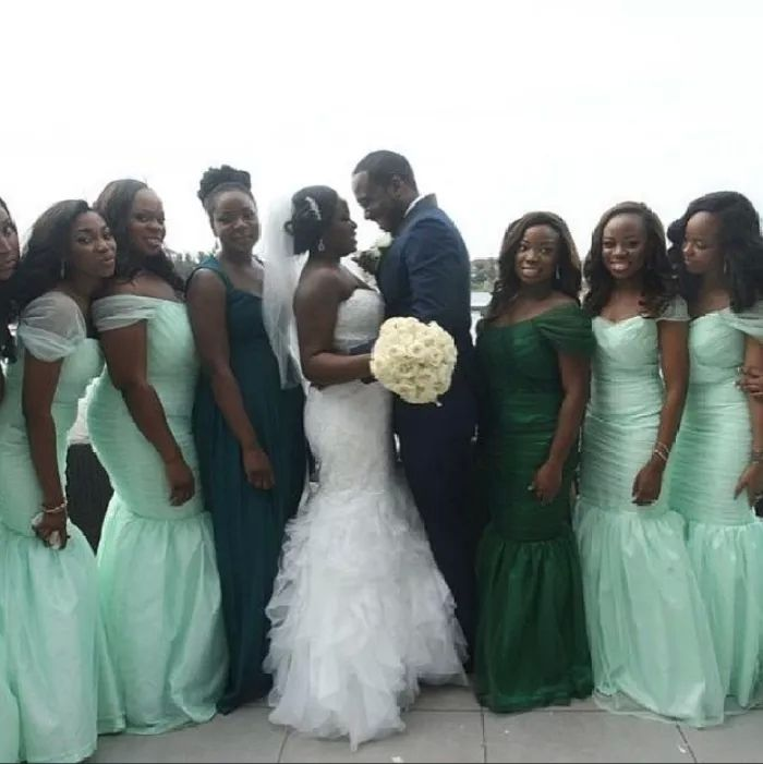 African Mint Green Mermaid Bridesmaid Dresses Sexy Cap Sleeves Nigerian  Ankara Style Bride Maid of Honor 376cd4950caf