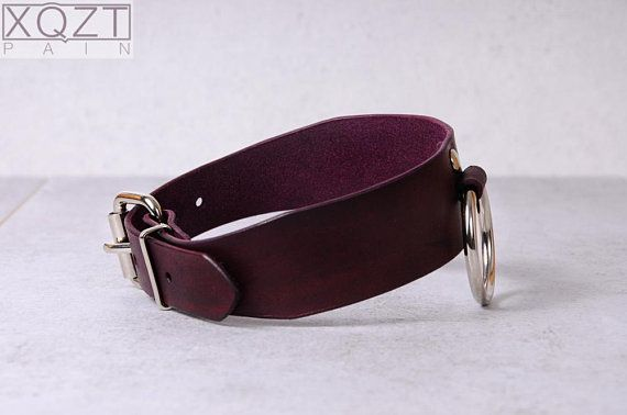 Slave Collar Ii In Red Leather Bdsm Sub Natural Leather